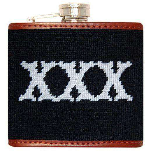 Flasks - XXX Needlepoint Flask In Black By Smathers & Branson