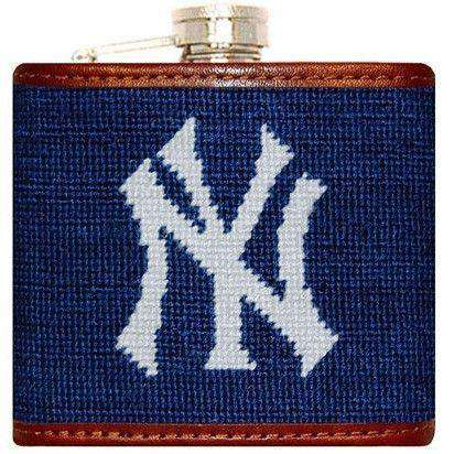 Flasks - Yankees Needlepoint Flask In Navy By Smathers & Branson