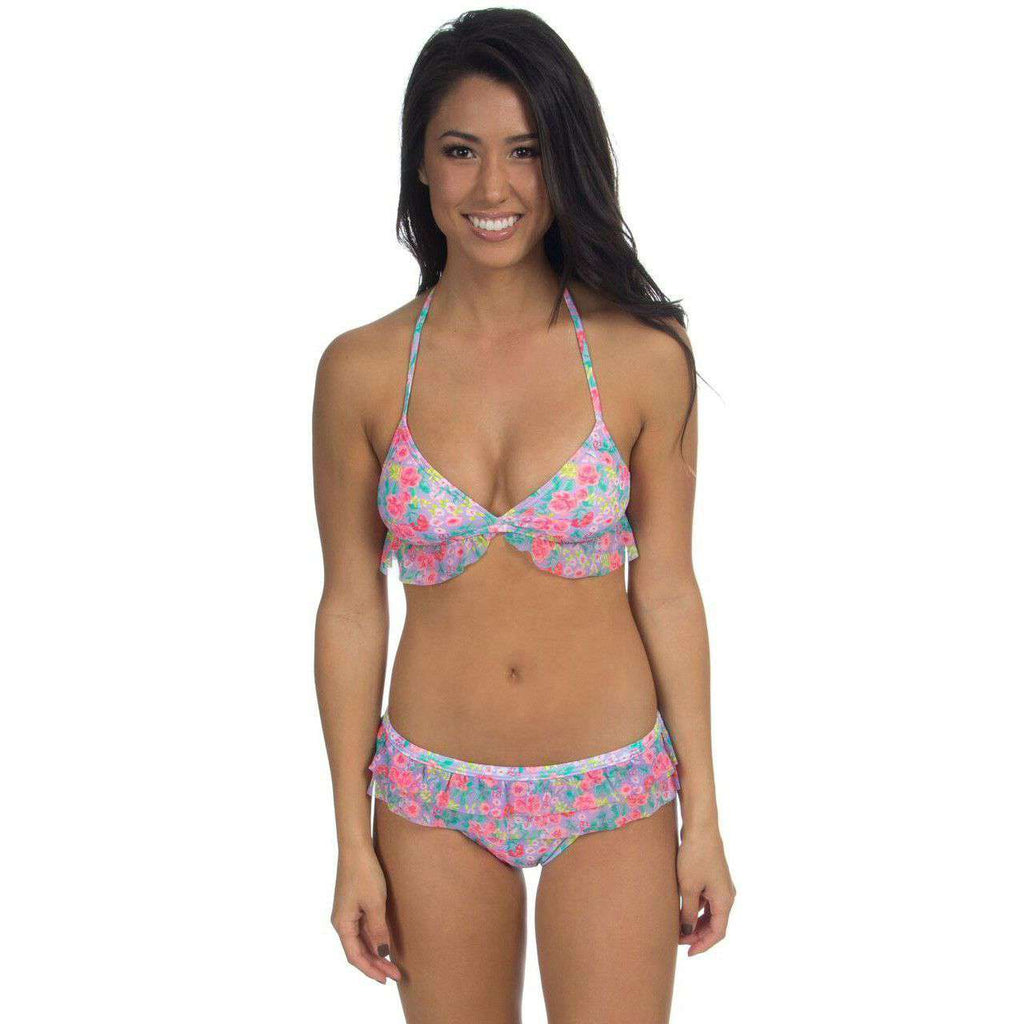 Floral Ruffle Halter Bikini Top by Lauren James  - 1