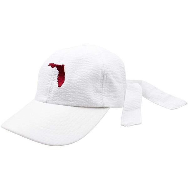 Florida Seersucker Hat in White with Garnet by Lauren James  - 1