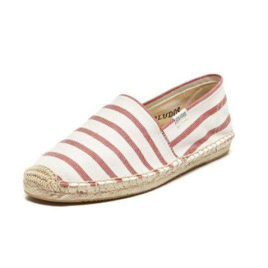 Classic Stripe Espadrille in Red and White by Soludos  - 1