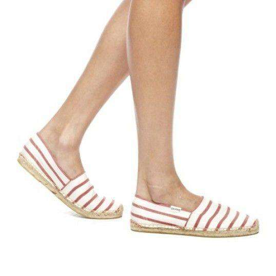 Classic Stripe Espadrille in Red and White by Soludos  - 5