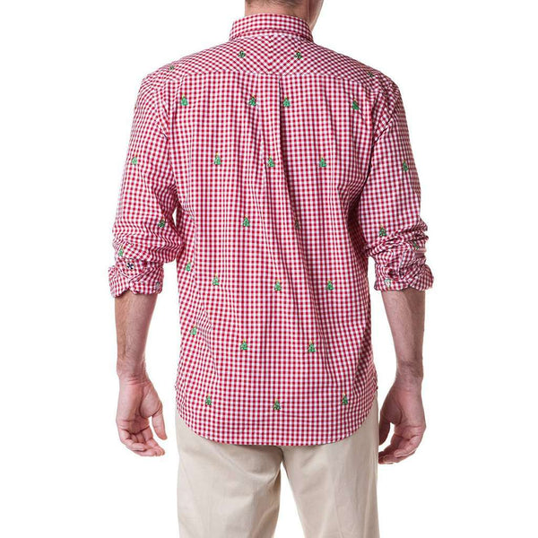 Castaway Clothing Gingham Straight Wharf Shirt with Embroidered Christmas Trees by Castaway Clothing