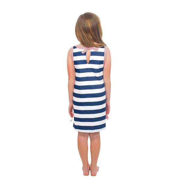Girls Striped Cotton Dress in Navy/Tomato by Gretchen Scott Designs