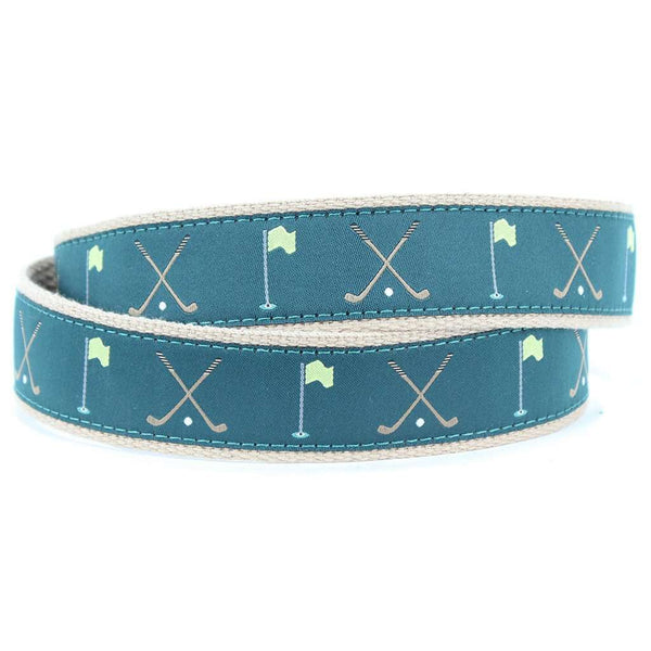 The Masters Leather Tab Belt in Green by Country Club Prep  - 2