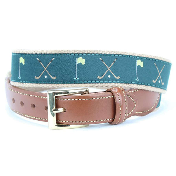 The Masters Leather Tab Belt in Green by Country Club Prep  - 1