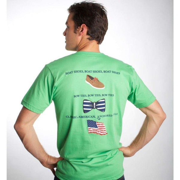 Boat Shoes, Bow Ties and America Tee Shirt in Grass Green by Anchored Style  - 1