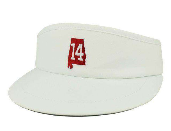 Hats/Visors - AL 14 Golf Visor In White By State Traditions