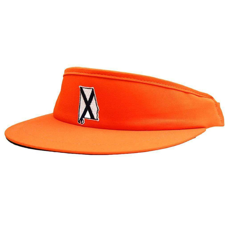Hats/Visors - AL Auburn Golf Visor In Orange With Navy Flag By State Traditions