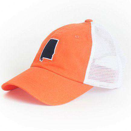 Alabama Auburn Gameday Trucker Hat in Orange by State Traditions