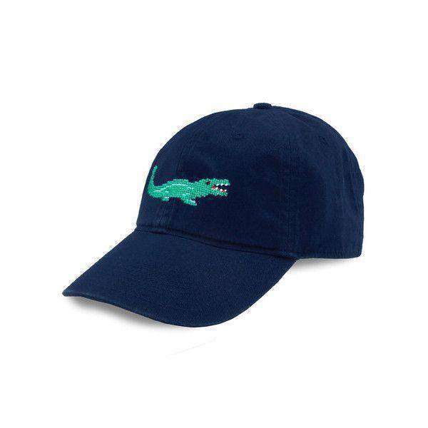 Alligator Needlepoint Hat in Navy by Smathers & Branson