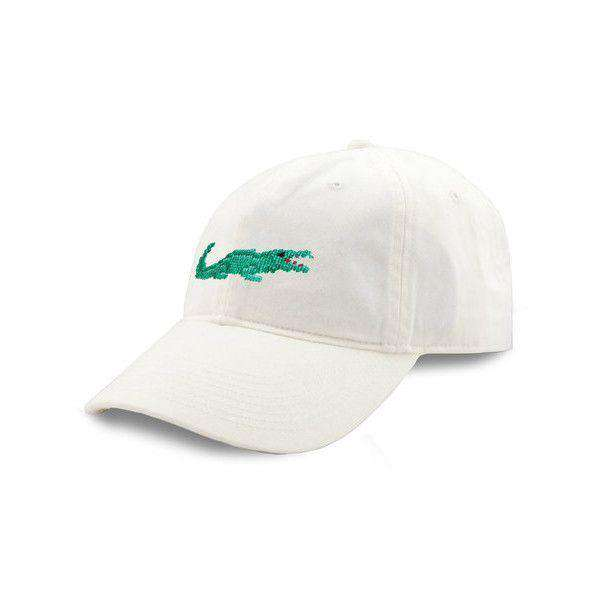 Alligator Needlepoint Hat in White by Smathers & Branson