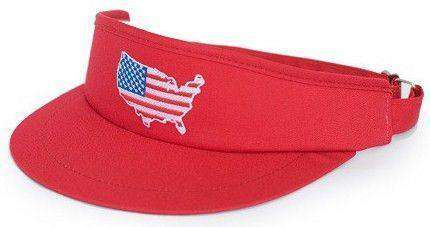 Hats/Visors - America Golf Visor In Red By State Traditions