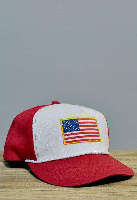 Hats/Visors - American Flag Gold Border Rope Hat In Red And White By Rowdy Gentleman