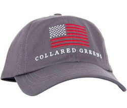 Hats/Visors - American Flag Hat In Slate Grey By Collared Greens