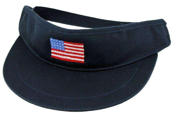 Hats/Visors - American Flag Needlepoint Golf Visor In Navy By Smathers & Branson