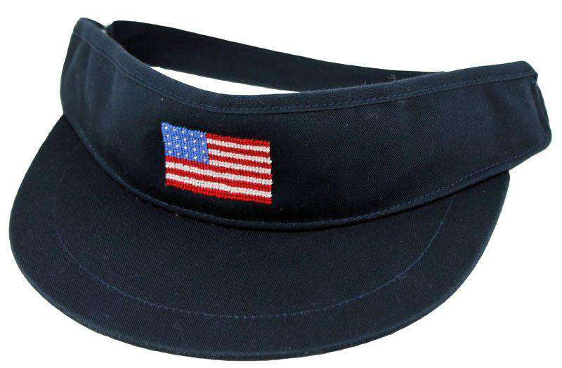 541d3034d1e Hats Visors - American Flag Needlepoint Golf Visor In Navy By Smathers    Branson