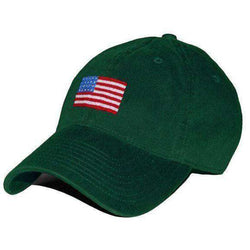 Hats Visors - American Flag Needlepoint Hat In Hunter Green By Smathers    Branson c4141d370e0