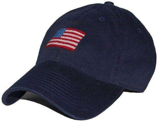 Hats/Visors - American Flag Needlepoint Hat In Navy By Smathers & Branson