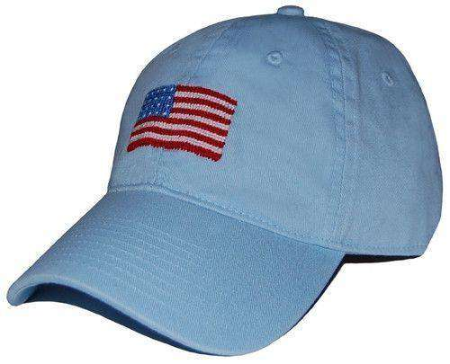 Hats/Visors - American Flag Needlepoint Hat In Sky Blue By Smathers & Branson