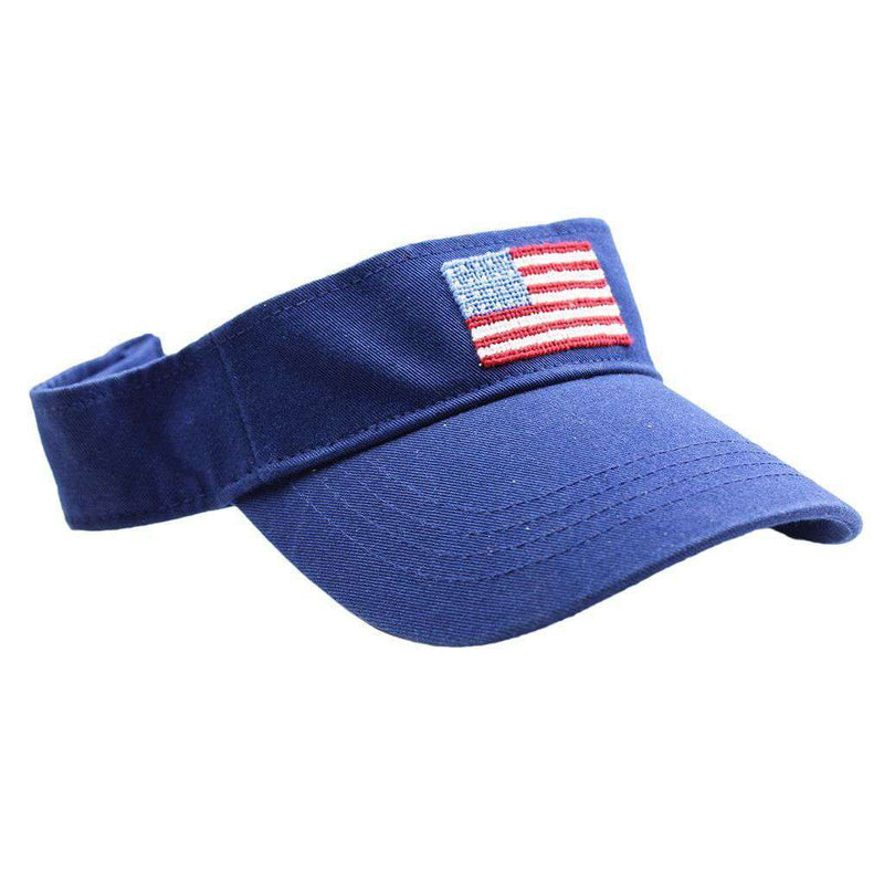 Hats/Visors - American Flag Needlepoint Visor In Navy By Smathers & Branson