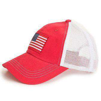 Hats/Visors - American Flag Trucker Hat In Red By State Traditions