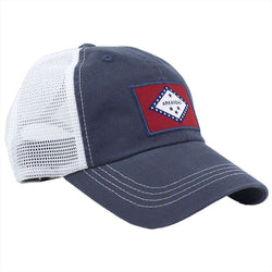 Hats/Visors - Arkansas Flag Trucker Hat In Navy By State Traditions