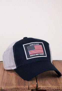 Hats/Visors - Back To Back World War Champs Mesh Hat In Navy By Rowdy Gentleman