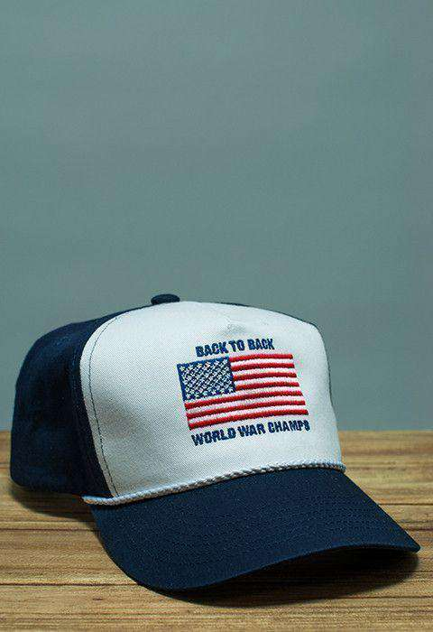 Hats/Visors - Back To Back World War Champs Rope Hat In Navy And White By Rowdy Gentleman