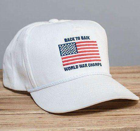 Hats/Visors - Back To Back World War Champs Rope Hat In White By Rowdy Gentleman