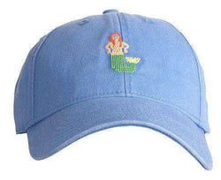 Hats/Visors - Blue Hat With Needlepoint Mermaid By Harding-Lane