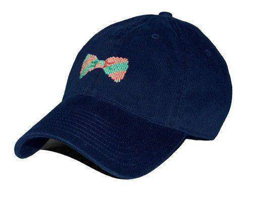Hats/Visors - Bow Tie Needlepoint Hat In Navy By Smathers & Branson