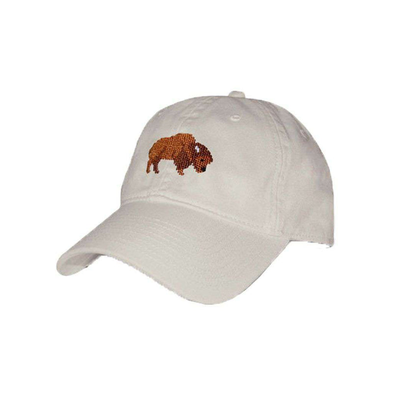 Hats/Visors - Buffalo Needlepoint Hat In Stone By Smathers & Branson