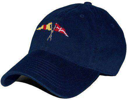 Hats/Visors - Burgees Needlepoint Hat In Navy By Smathers & Branson
