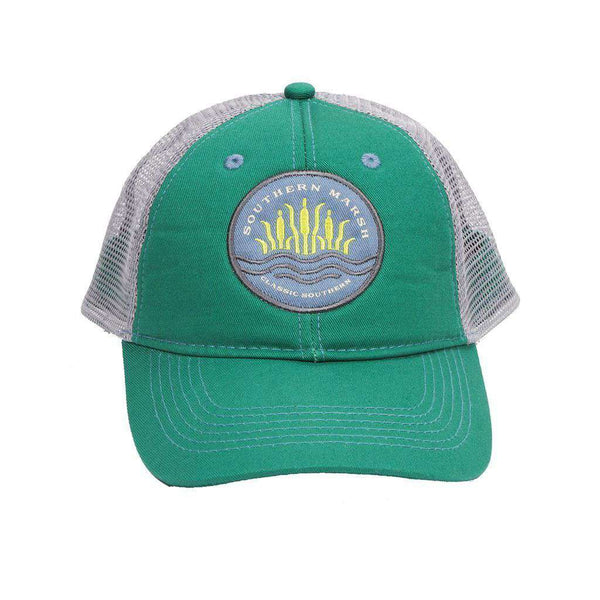 Hats/Visors - Cattail Trucker Hat In Bimini Green By Southern Marsh