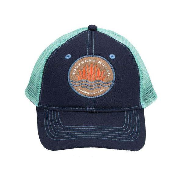 Cattail Trucker Hat in Navy by Southern Marsh