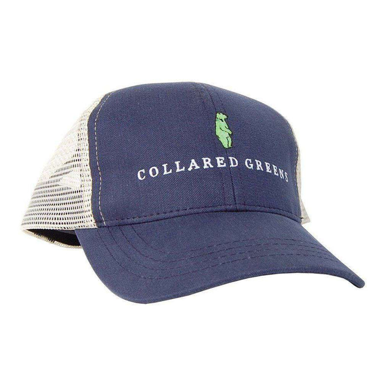Hats/Visors - CG Trucker Hat In Navy/Khaki By Collared Greens