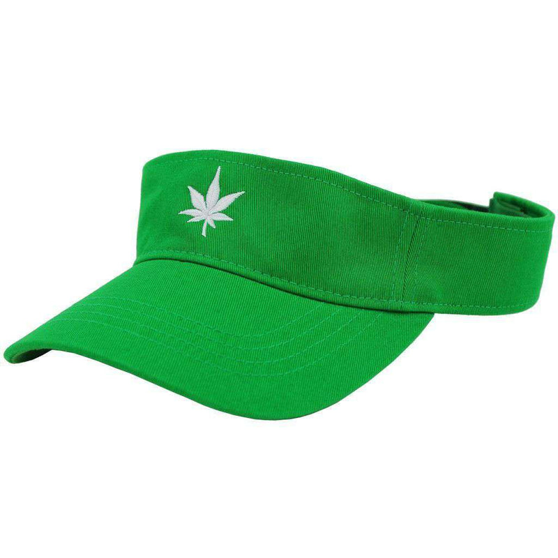 Hats/Visors - Classic Twill Leaf Logo Visor In Green By Boast