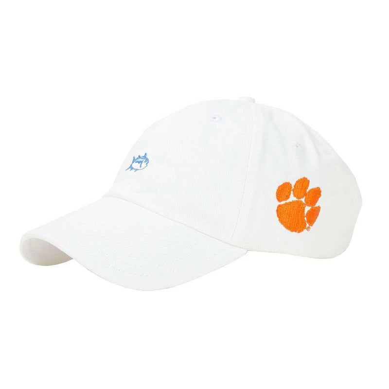 Hats/Visors - Clemson University Mini Skipjack Hat In White By Southern Tide - FINAL SALE