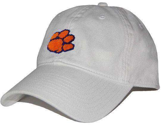 Hats/Visors - Clemson University Needlepoint Hat In White By Smathers & Branson