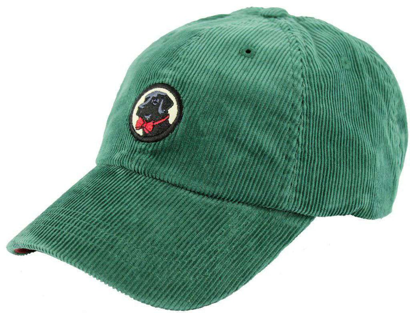 Hats/Visors - Corduroy Frat Hat In Hunter Green With Black Lab By Southern Proper