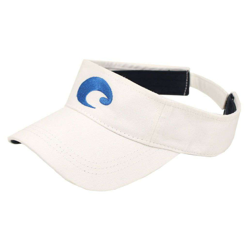 Cotton Visor in White by Costa Del Mar