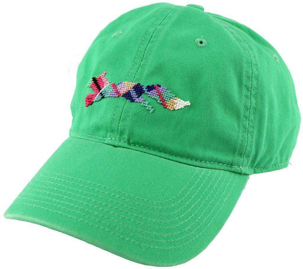 "Hats/Visors - Country Club Prep ""Longshanks"" Needlepoint Hat In Kelly Green By Smathers & Branson"
