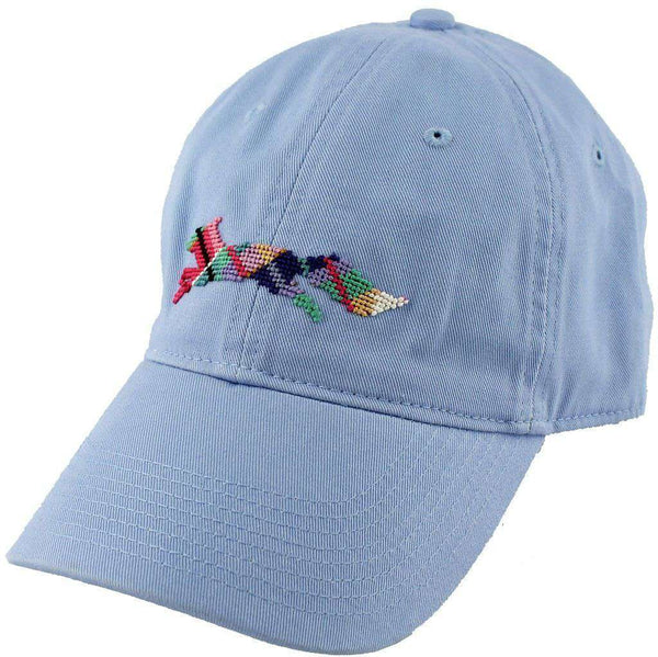 "Hats/Visors - Country Club Prep ""Longshanks"" Needlepoint Hat In Sky Blue By Smathers & Branson"