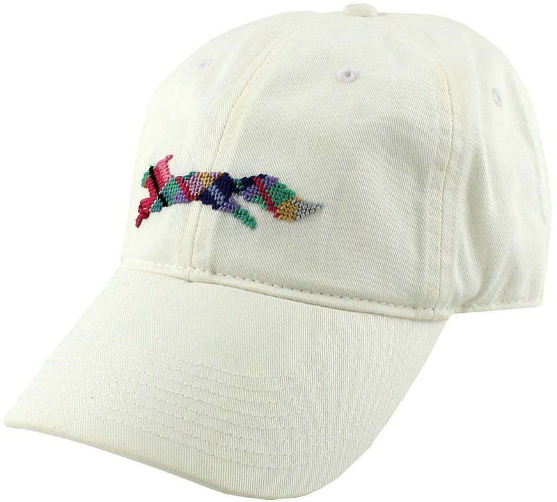 "Hats/Visors - Country Club Prep ""Longshanks"" Needlepoint Hat In White By Smathers & Branson"