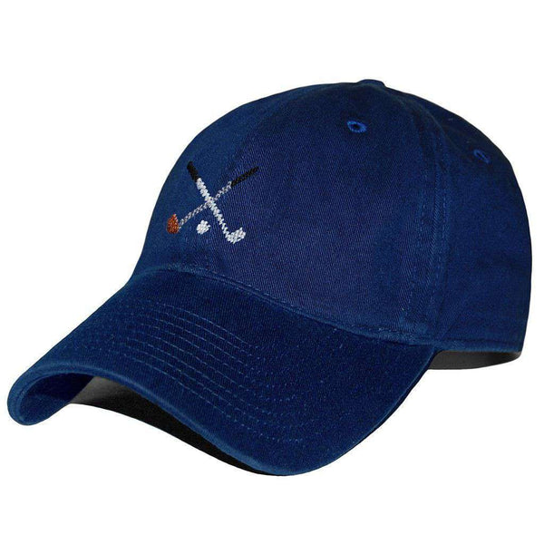 Crossed Golf Clubs Needlepoint Hat in Navy by Smathers & Branson