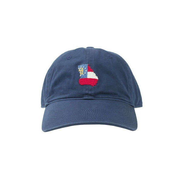 Custom Georgia State Flag Needlepoint Hat in Navy by Smathers & Branson