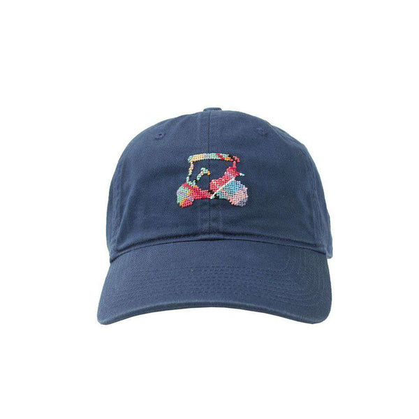 Hats/Visors - Custom Madras Golf Cart Needlepoint Hat In Navy By Smathers & Branson