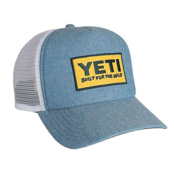 Hats/Visors - Deep Fit Foam Patch Trucker Hat In Chambray Blue By YETI