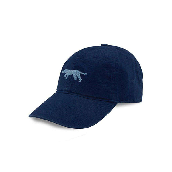 Dog on Point Needlepoint Hat in Navy by Smathers & Branson